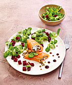 Smoked Trout Wrap with Green Lentils, Lamb's lettuce and Beets