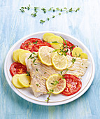 Skate Wings with Mustard, Lemons, Steamed Potatoes and Tomatoes