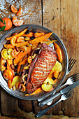 Duck Magret With Apples,Raisins,Clementines,Almonds And Sweet Potatoes