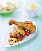 Cari de poulet (Hähnchenpfanne von der Insel La Reunion) mit Pilzen