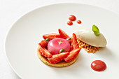 Strawberry Flavoured Tartlet with Vanilla Ice Cream