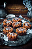 Chocolate Hazelnut Friands With Chocolate Cream Cheese Frosting