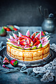 Goats Cheese, Figs And Strawberries Cheesecake
