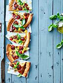 Mozzarella, cherry tomato and pine nut quiche