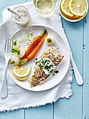 gegrilde tarbot met gestoomde raapjes en wortelen en licht mosterdsausje