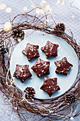 Christmas stars with chocolate and gold leaf