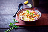 Chicken and rice noodle Asian soup