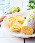 Biskuitrolle mit Mojitocreme