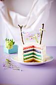 Rainbow Cake mit Blütendeko