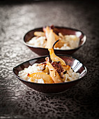 Rice pudding with stewed figs and pears