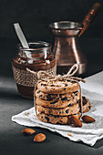 Chocolate-chip cookies tied with thread