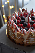 Summer fruit meringue Christmas cake