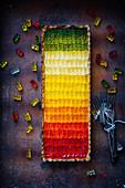 Rainbow pie with gelatin bears