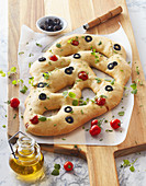Cherry tomato and basil Fougasse