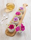 Rice pudding with petunias