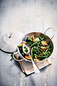 Chicken and green vegetable wok