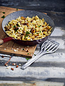 Farfalle with potatoes and bread