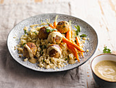 Chicken Meatballs with Leek, Bulgur and Early Carrots