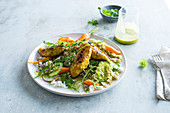 Chicken Tenderloins with Curry, Feta Green Tabbouleh, Baby Carrots, Cucumber and Arugula