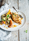 Chicken filet butternut quinoa feta