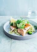 Risotto broccoli salmon