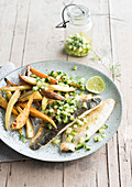 Seabass vegetable wedges cucumber salsa