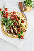 Socca (Kichererbsenpfannkuchen) mit Ziegenfrischkäse und Sommergemüse