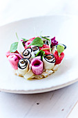 Colorful raw vegetable rolls