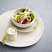 Asparagus Ribbon Salad with Cured Ham and Parmesan
