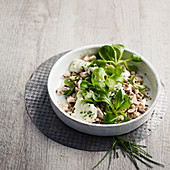 Mushroom salad with watercress and chive cream