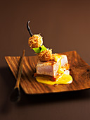 Piece of roasted dolphin fish,spicy butternut and crisp sweet potatoes by Chef Matteis