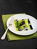 Offene Lasagne Tricolore mit Kaviar
