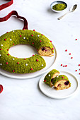 Christmas Pistachio,Almond And Cherry Crown Cake