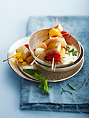 Grilled fruit brochettes