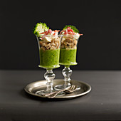 Cream of broccoli soup with croutons and coppa ham