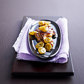 Pan-fried foie gras with cider and white grapes