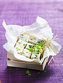 Salty marshmallow parmesan and herb bites