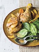 Chicken flambé with Calvados
