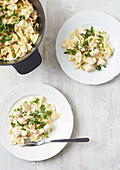Farfalle with turkey and herbs