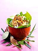 Kaninchen-Curry mit Limette auf Reis