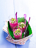 Beetroot gazpacho with diced cucumber