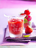 Cherry tomato and strawberry granita