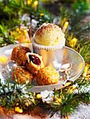 Rochers mit Schokoladenfüllung serviert mit Passionsfruchtsorbet (weihnachtlich)