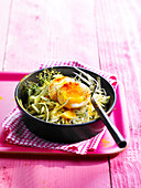 Cabbage salad with a soft-boied egg