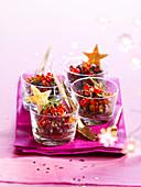 Weihnachtlicher Linsensalat mit Lachskaviar