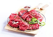 Raw beef fillets for the grill