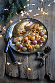 Quail with grapes,dried apricots,almonds and honey