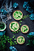 Watercress and cream cheese tartlets