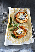 Pear and gorgonzola thin tartlets