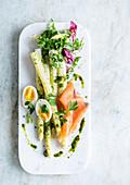 White asparagus with smoked salmon